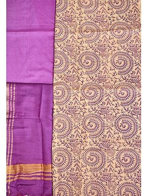 Cream and Purple Salwar Kameez Fabric with Printed Warli Chakra of Life