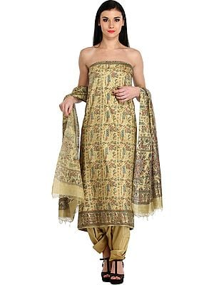Pale-Khaki Salwar Kameez Fabric with Printed Warli Folk Motifs