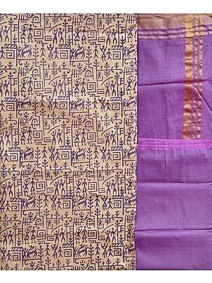 Alabaster-Gleam and Purple Salwar Kameez Fabric with Printed Warli Folk Motifs