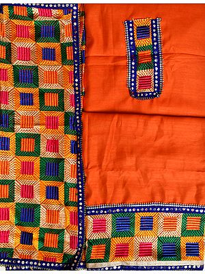 Salwar Kameez Fabric from Punjab with Phulkari-Embroidered Patches