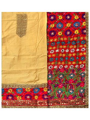 Phulkari Salwar Kameez Fabric from Punjab with Hand-Embroidery and Sequins