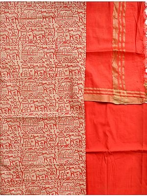 Cream and Red Salwar Kameez Fabric with Printed Warli Folk Motifs