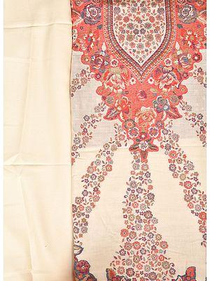 Ivory Kani Jamawar Salwar Kameez Fabric with Floral Weave
