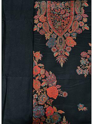 Jet-Black Kani Jamawar Salwar Kameez Fabric with Woven Flowers