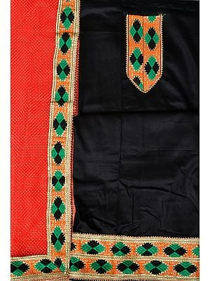 Black and Red Phulkari Salwar Kameez Fabric from Punjab with Patch Border and Net Dupatta