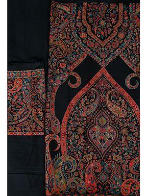 Caviar-Black Kani Jamawar Salwar Kameez Fabric with Woven Paisleys