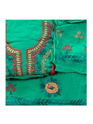 Phulkari Salwar Kameez Fabric with Floral Embroidery from Punjab