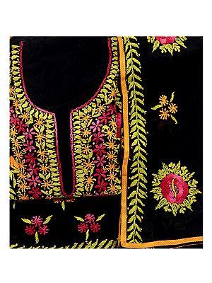 Phulkari Salwar Kameez Fabric with Floral Embroidery from Punjab