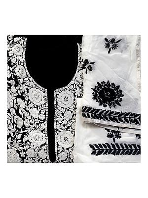 Black and White Phulkari Salwar Kameez Fabric with Floral Embroidery from Punjab