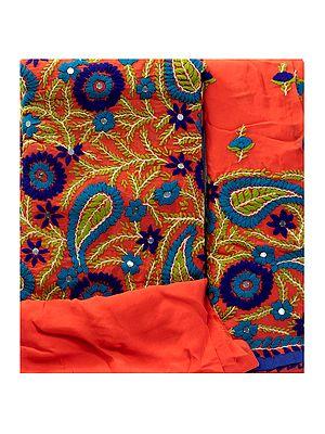 Emberglow Phulkari Salwar Kameez Fabric with Floral Embroidery from Punjab