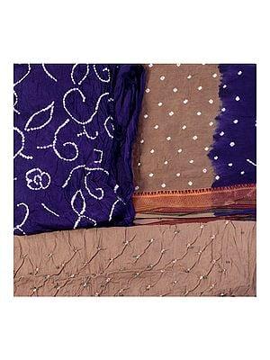 Bandhani Tie-Dye Salwar Kameez Fabric from Gujarat with Woven Border