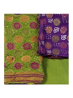 Bandhani Salwar Kameez Fabric from Gujarat with Woven Floral and Bootis