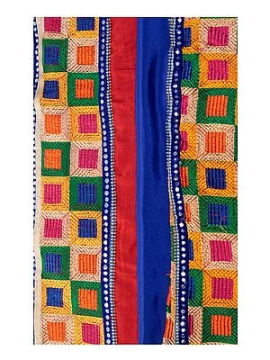 Phulkari Salwar Kameez Fabric from Punjab with Heavy Dupatta and Patch Border