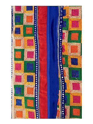 Phulkari Salwar Kameez Fabric from Punjab with Heavy Dupatta and Patch Border