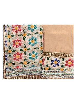 Beige Phulkari Salwar Kameez Fabric from Punjab with Woven Florals and Lace Border