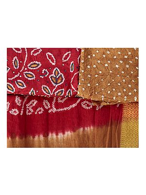 Bandhani Salwar Kameez Fabric from Gujarat with Mirrors and Woven Bootis