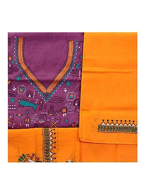 Mellow-Mauve Warli Salwar Kameez Fabric with Kantha Emrbroidery