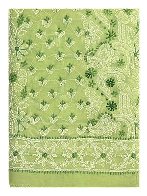Leaf-Green Salwar Kameez Fabric with Lukhnavi Chikan Embroidery All Over