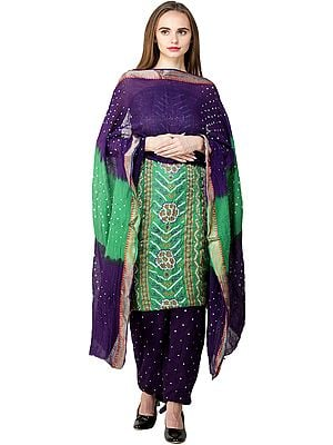 Bandhani Tie-Dyed Salwar Kameez Fabric with Floral Embroidery and Mirrors