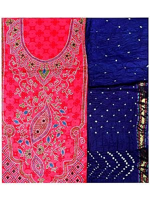 Hot-Pink Salwar Kameez Fabric from Gujarat with Bandhej Print and Kantha Embroidery