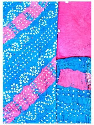 Bandhani Tie-Dye Salwar Kameez Fabric from Gujarat with Beads and Mirrors