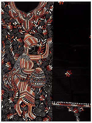 Caviar-Black Salwar Kameez Fabric from Kolkata with Kantha Hand-Embroidered Village Lady