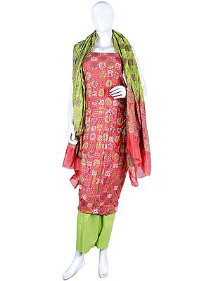 Bandhani Tie-Dyed Salwar Kameez Fabric from Gujarat with Woven Floral Bootis