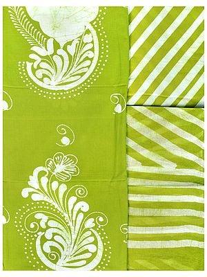 Green-Oasis Batik-Dyed Salwar Kameez Fabric with White Flowers