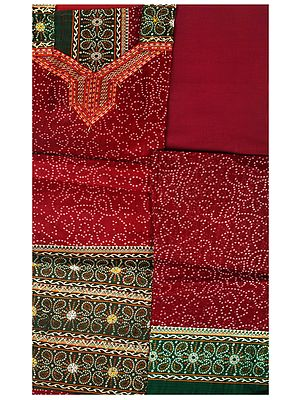Salwar Kameez Fabric from Gujarat with Bandhej Print and Ari-Embroidery