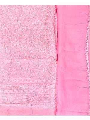 Candy-Pink Salwar Kameez Fabric with Lukhnavi Chikan Embroidery All Over