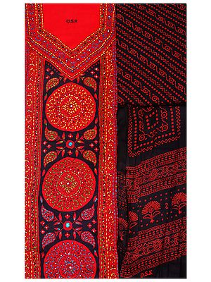 Printed Salwar Kameez Fabric from Kolkata with Kantha Embroidery and Beads