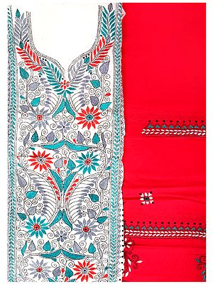 White and Pink Salwar Kameez Fabric from Kolkata with Kantha Hand-Embroidery