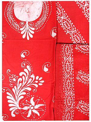 Cayenne and Ivory Batik-Dyed Salwar Kameez Fabric