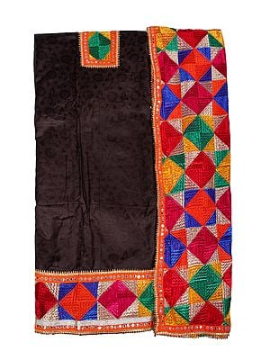 Phulkari Salwar Kameez Fabric from Punjab with Straight-Stitch Embroidery and Patch Border