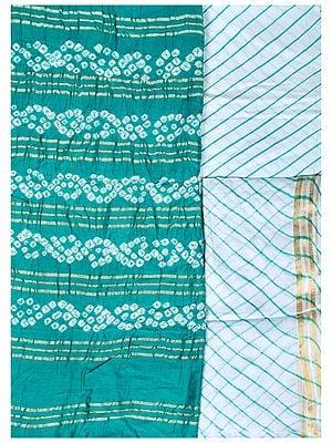 Bandhani Tie-Dye Salwar Kameez Fabric from Gujarat with Woven Stripes