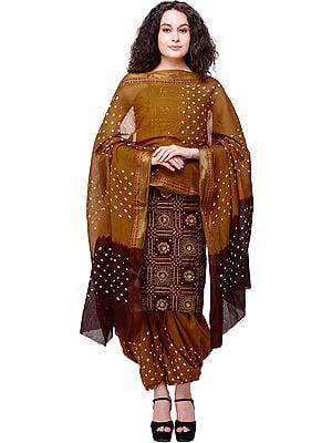 Bandhani Zari-woven Salwar Kameez Fabric with Mirror Embroidery