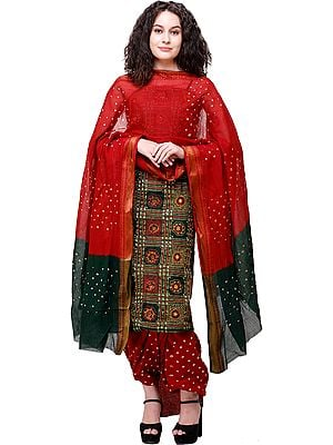 Bandhani Zari-woven Salwar Kameez Fabric with Mirror Embroidery