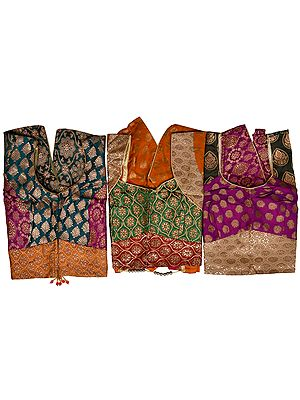 Lot of Three Brocaded Cholis from Banaras