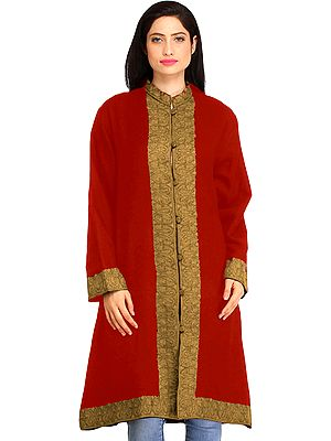 True-Red Kashmiri Long Jacket with Ari Hand-Embroidery on Border
