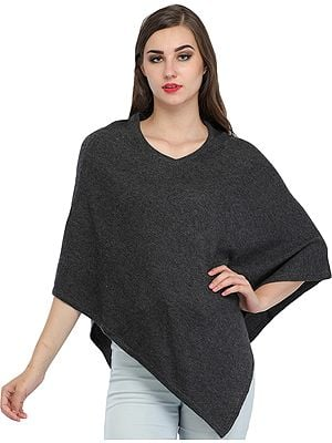 Plain Cashmere Poncho from Nepal