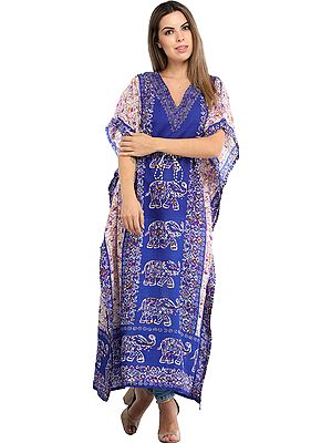 Long Kaftan with Printed Elephants and Dori at Waist