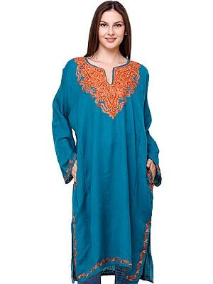 Phiran from Kashmir with Floral Hand-Embroidery on Neck