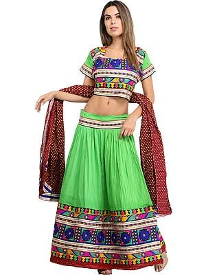 Jasmine-Green and Maroon Lehenga Choli from Jodhpur with Floral-Embroidery and Mirrors