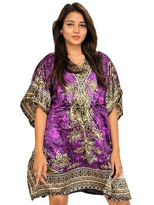 Short Boho Kaftan with Floral Print and  Dori on Waist