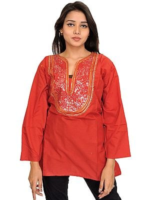 Casual Kurti with Sequins-Embroidered Patch on Neck