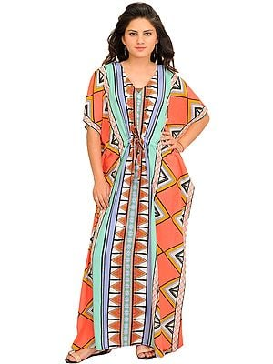 Multicolor Kaftan with Inca Print and Waist Sash