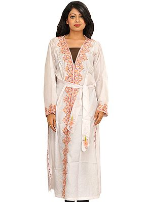 Star-White Robe from Kashmir with Floral Embroidery on Border