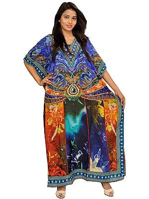 Digital-Printed Kaftan with Dori on Waist