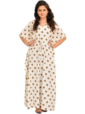 Pristine-White Kaftan with Printed Polka-Dots and Dori at Waist