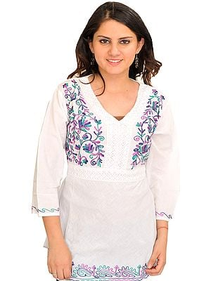 Bright White Kurti With Ari Embroidery